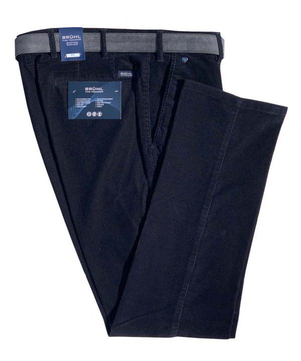 BRUHL Cords - Parma B Cotton Fine Corduroy Trousers - Marine