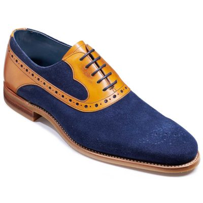 Barker Elliot Shoes - Oxford Style - Navy Suede & Cedar Calf