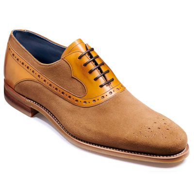 Barker Elliot Shoes - Oxford Style - Snuff Suede & Cedar Calf