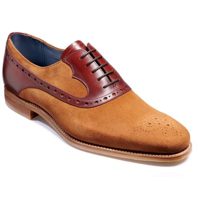 Barker Elliot Shoes - Oxford Style - Terra Suede & Cedar Calf