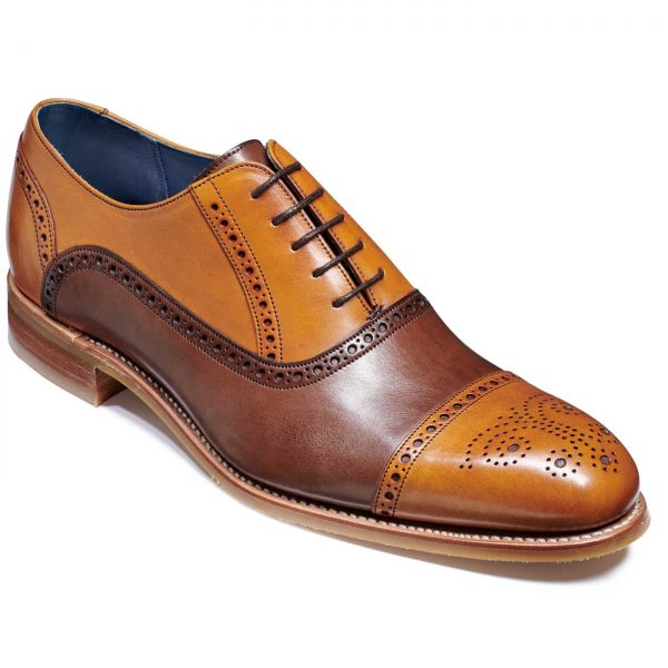 Barker Jax Shoes - Oxford Style - Cedar / Ebony Hand Painted
