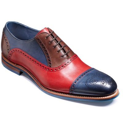 Barker Jax Shoes - Oxford Style - Red / Navy / Ebony Hand Painted