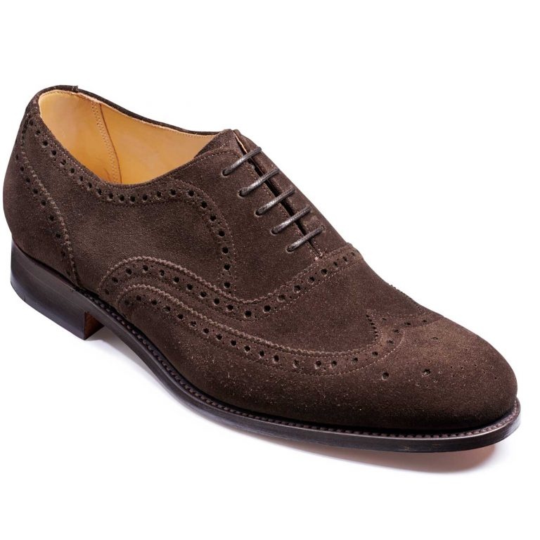 Barker Malton Shoes - Oxford Brogue - Burnt Oak Suede