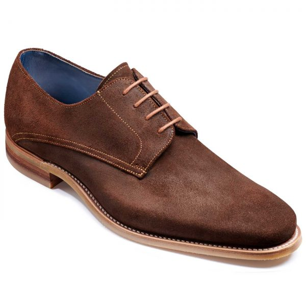 Barker Max Shoes - Derby Style - Brown Burnished Suede