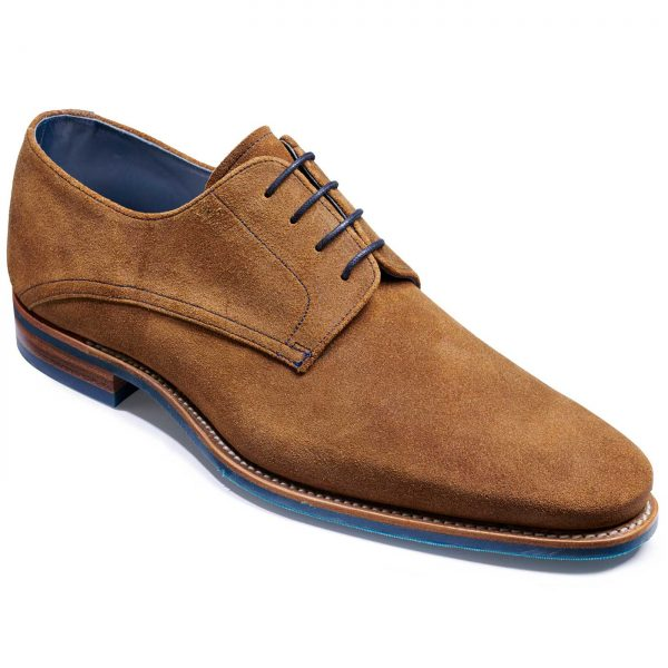 Barker Max Shoes - Derby Style - Tan Burnished Suede
