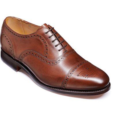 Barker Mirfield Shoes - Oxford Semi Brogue - Dark Walnut Calf