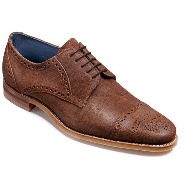 Barker Nixon Shoes - Semi Brogue Derby - Brown Burnished Suede