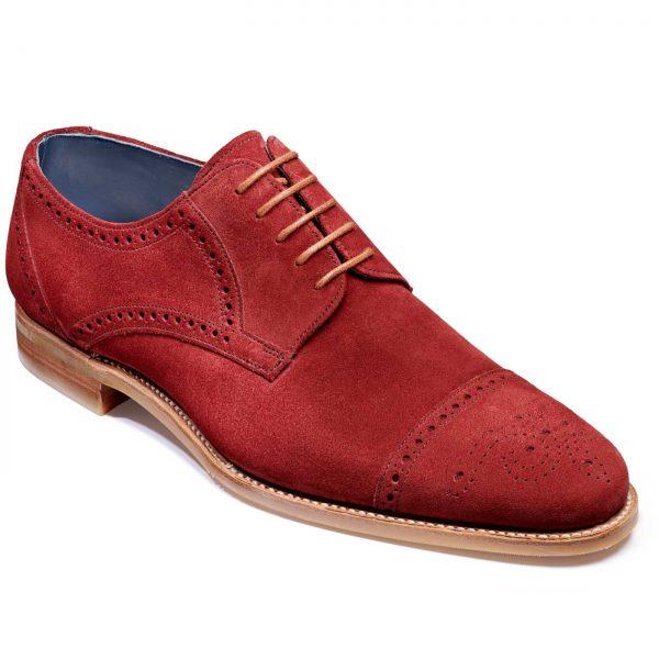 Barker Nixon Shoes - Semi Brogue Derby - Burgundy Suede