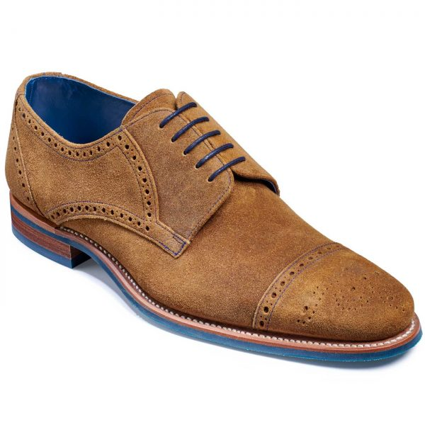 Barker Nixon Shoes - Semi Brogue Derby - Tan Burnished Suede