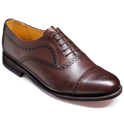 Barker Southampton Shoes - Oxford Semi Brogue - Dark Walnut Calf
