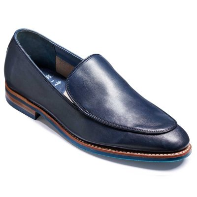 Barker Toledo Shoes - Slip On Loafer - Navy Hand Painted