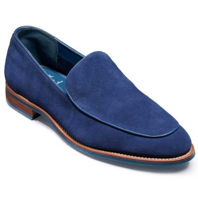 Barker Toledo Shoes - Slip On Loafer - Pacific Blue Suede