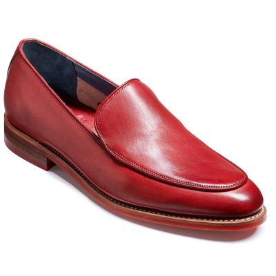 Barker Toledo Shoes - Slip On Loafer -Red Hand Painted