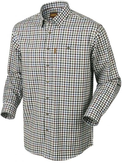 HARKILA Shirt - Mens Milford Fine Twill Cotton - Burgundy Check