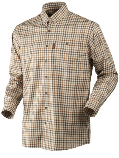 HARKILA Shirt - Mens Milford Fine Twill Cotton - Spice Check