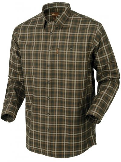 HARKILA Shirt - Mens Milford Fine Twill Cotton - Willow Green Check