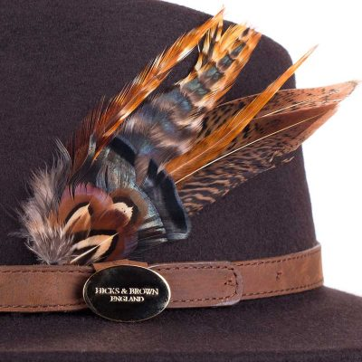 HICKS & BROWN Hat - Ladies Suffolk Gamebird Fedora - Dark Brown
