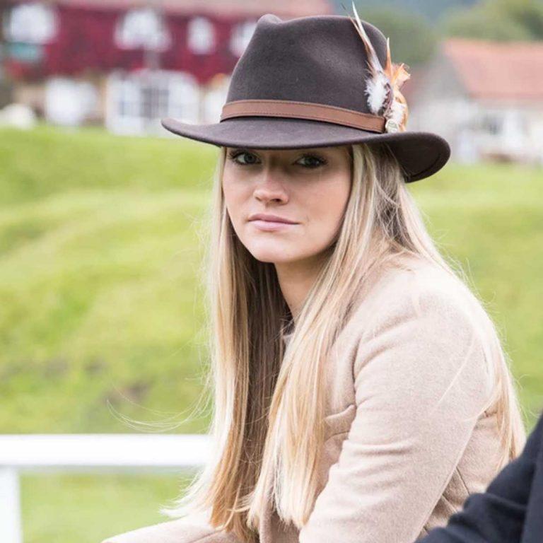 HICKS & BROWN Hat - Ladies Suffolk Gamebird Fedora - Dark Brown