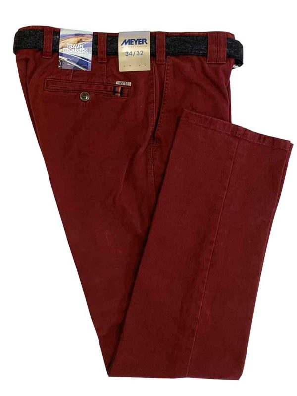 MEYER Chinos - Oslo Double Dyed Cotton - Expandable Waist - Red - Back Pocket