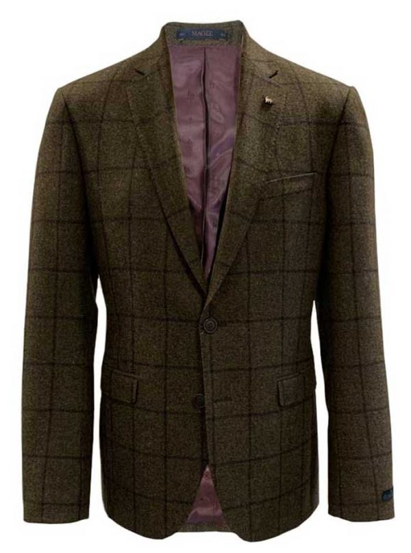 MAGEE Tweed Jacket - Mens Finn Tailored Fit - Green