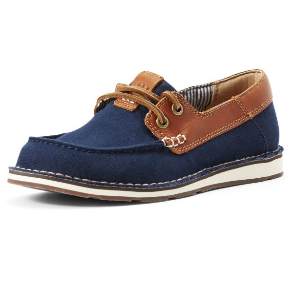 ARIAT Deck Shoes - Womens Cruiser Castaway - Navy Canvas & Honeycomb