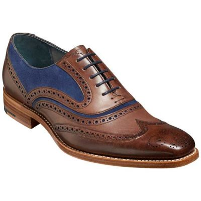 BARKER McClean Shoes - Mens Brogues - Ebony Hand Painted & Navy Suede