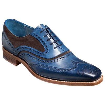 BARKER McClean Shoes - Mens Brogues - Navy Hand Painted & Chocolate Suede
