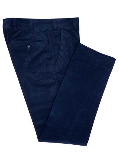 MEYER Cords - Mens Roma 437 Luxury Cotton Corduroy Trousers - Navy