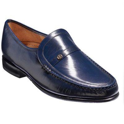 Barker Shoes -Men's Jefferson Moccasins - Navy Kid