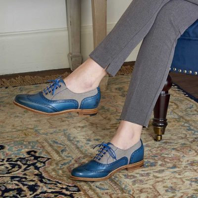 Barker Ladies Ali - Brogue Shoes - Blue Hand Painted & Grey Canvas