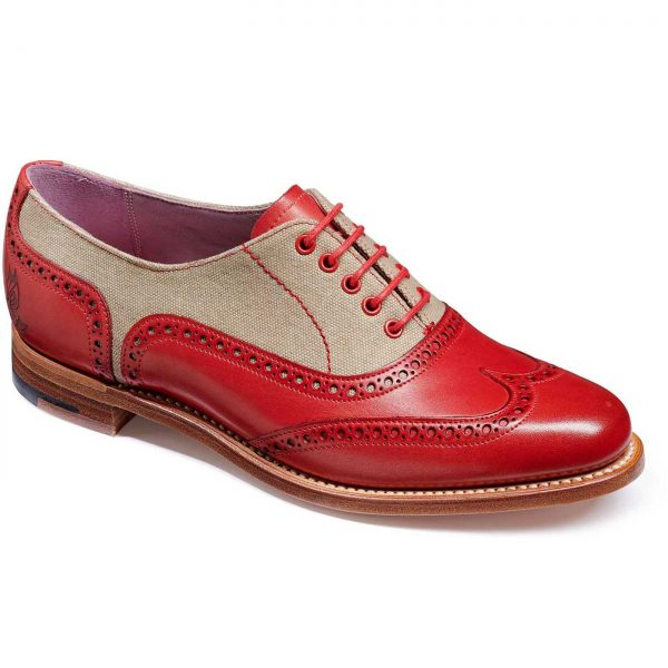 Barker Ladies Ali - Brogue Shoes - Red Hand Painted & Grey Canvas