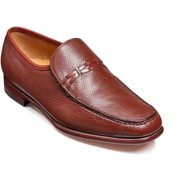 Barker Shoes - Mens Leon Moccasin - Burgundy Deerskin / Calf