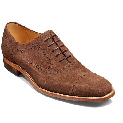 Barker Shoes - Mens Luke Semi Brogues - Castagnia Suede