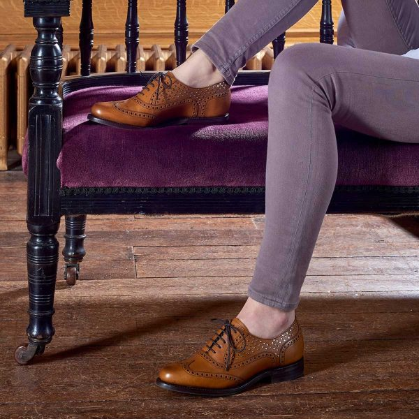Barker Shoes – Ladies Freya Brogues – Cedar Calf with Metal Studs