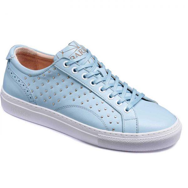 Barker Shoes - Ladies Isla Sneakers - Pale Blue / Metal Studs