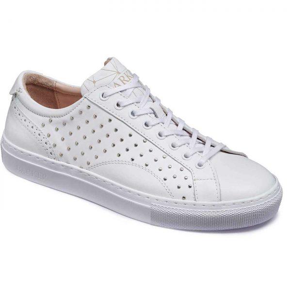 Barker Shoes - Ladies Isla Sneakers - White / Metal Studs