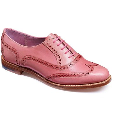 Barker Shoes - Ladies Santina Brogues - Pink Hand Painted