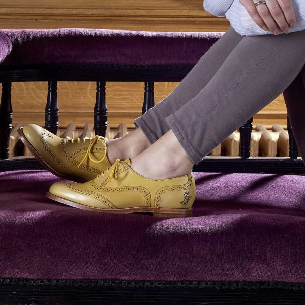 Barker Shoes - Ladies Santina Brogues - Yellow Hand Painted