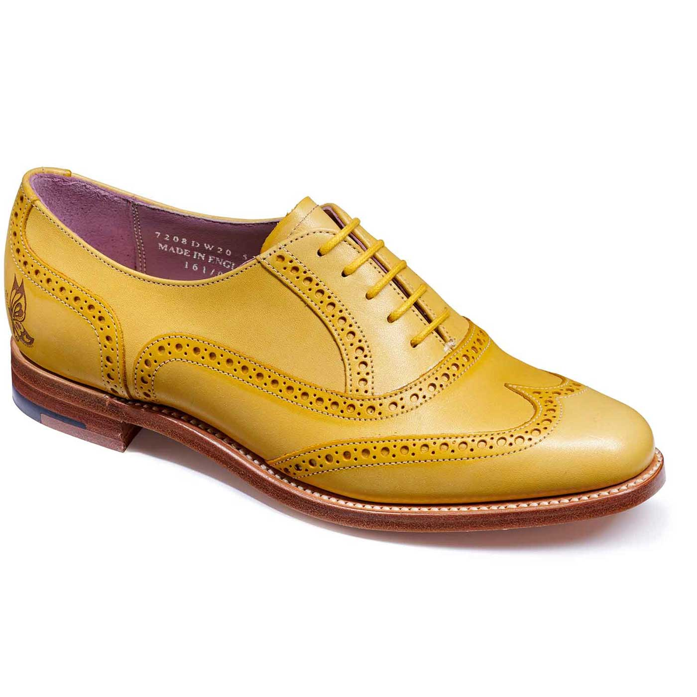 605f814ae4e2d Barker Shoes - Ladies Satina Brogues - Yellow Hand Painted