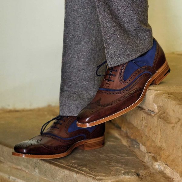 Barker Shoes - Mens McClean Brogues - Ebony Hand Painted & Navy Suede
