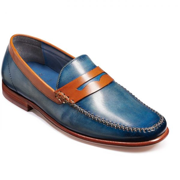Barker Shoes - Men's William Moccasin Loafers - Blue Wash Rosewood