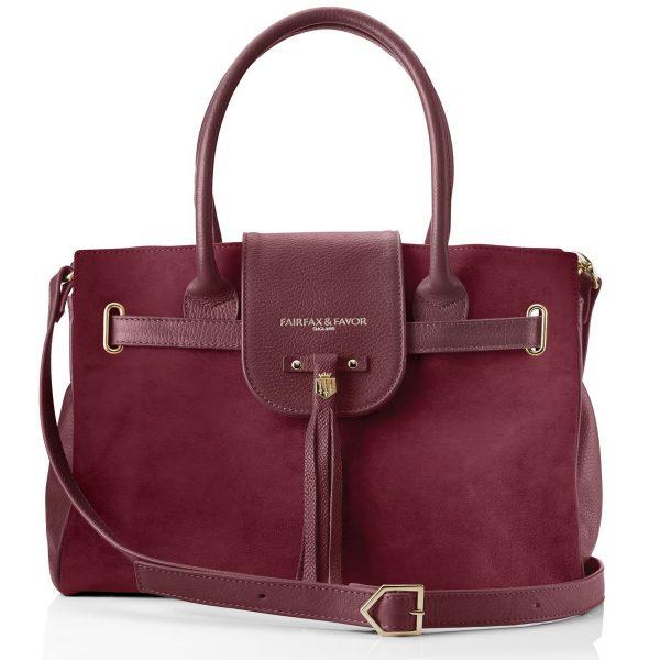 Fairfax & Favor Windsor Handbag - Oxblood Suede
