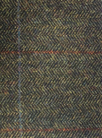 MAGEE Tweed Jacket - Mens Classic Fit - Green Herringbone with Orange and Blue Overcheck