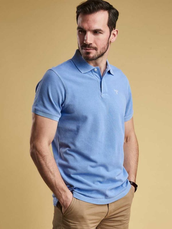 Barbour Washed Sports Polo Shirt - Sky Blue
