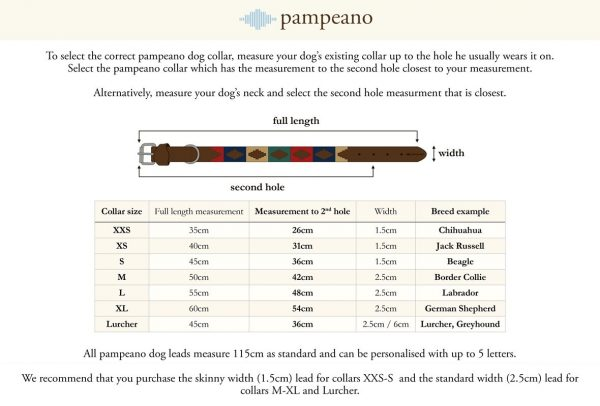 Pampeano Dog Collar Size Guide