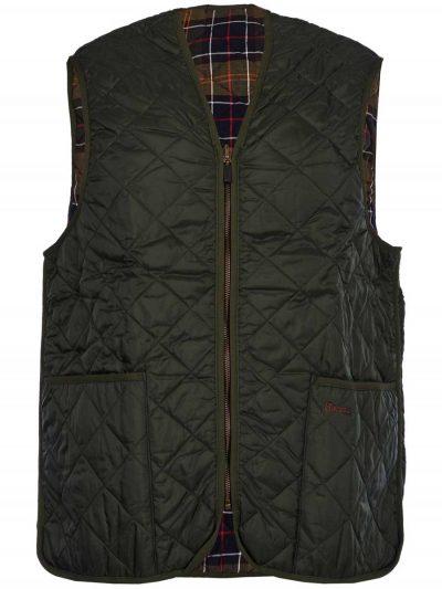 BARBOUR - Men's Quilted Waistcoat/Zip-In Liner - Olive with Classic Tartan