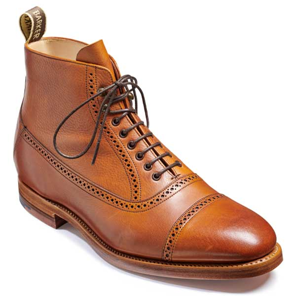 BARKER Foley Boots - Mens Toe Cap - Cedar Soft Grain