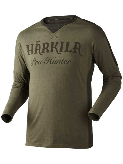 462eb2094715a Härkila Mens Pro Hunter Long Sleeve T Shirt - Lake Green & Shadow Brown