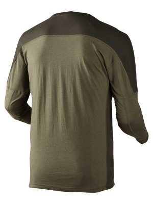Härkila Mens Pro Hunter Long Sleeve T Shirt - Lake Green & Shadow Brown