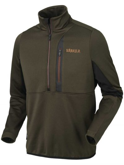 Härkila Mens Tidan Hybrid Half Zip Fleece Jacket - Willow Green & Black